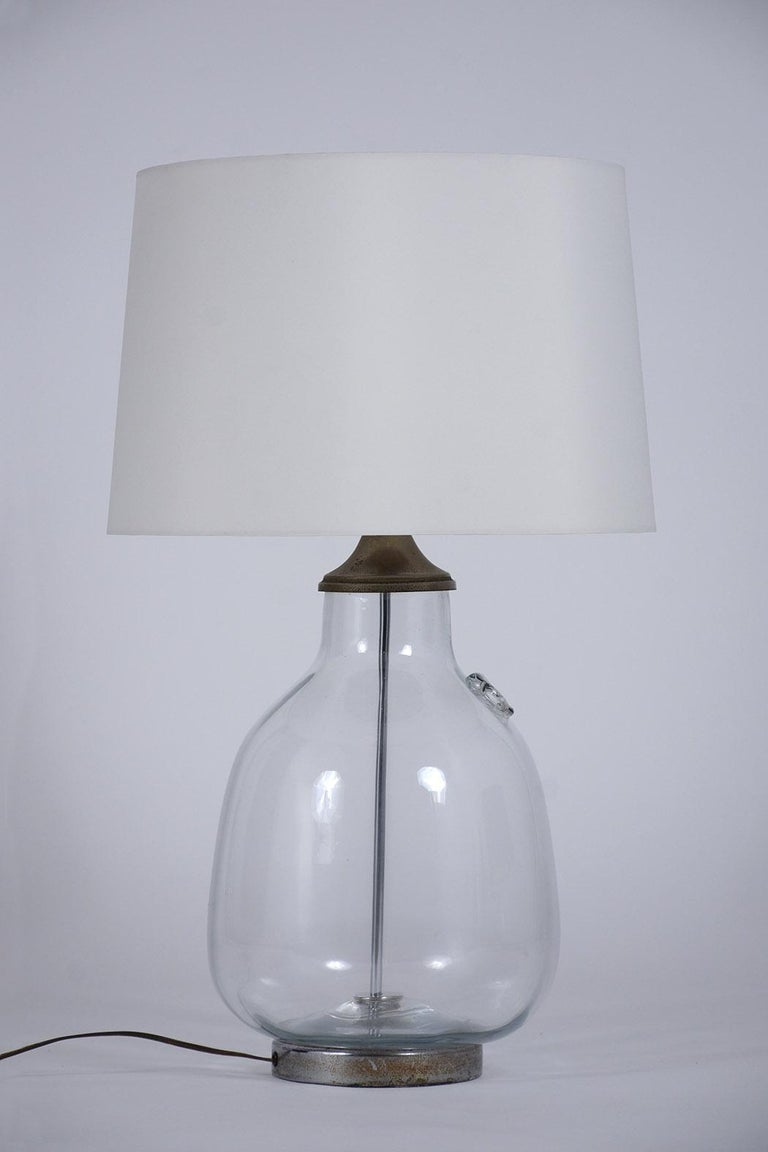 Pair of Clear Blown Glass Table Lamps For Sale 3