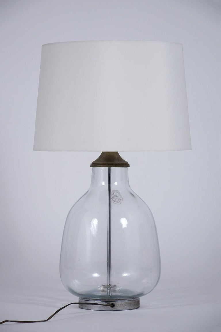 Pair of Clear Blown Glass Table Lamps For Sale 4