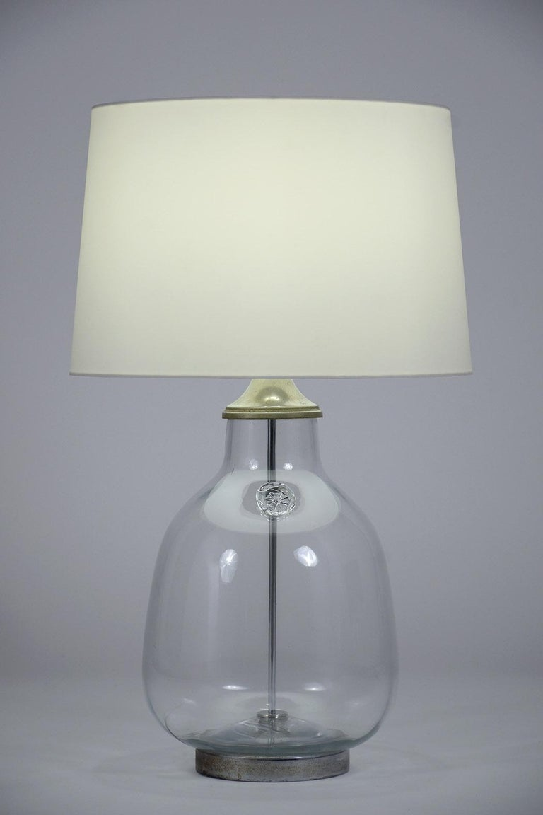 Mid-Century Modern Pair of Clear Blown Glass Table Lamps For Sale
