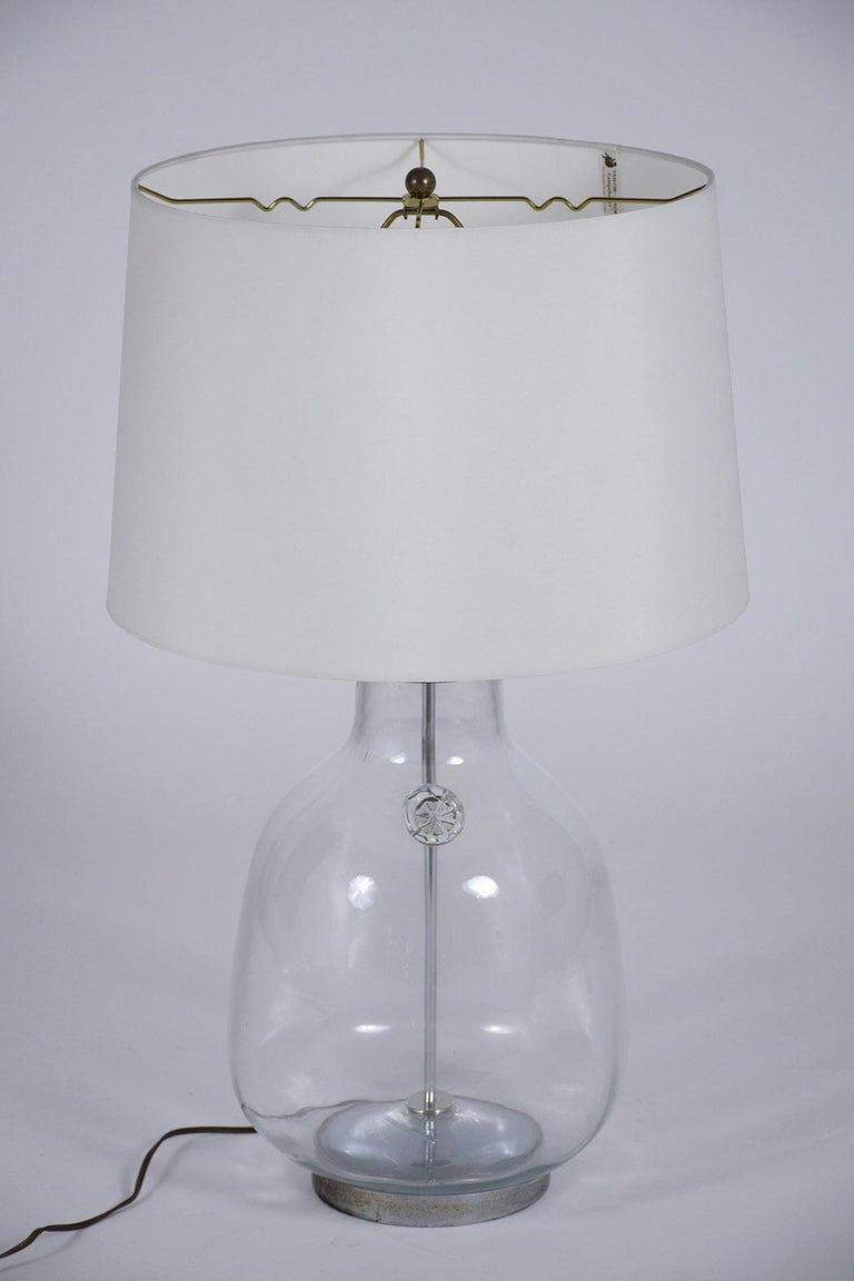Pair of Clear Blown Glass Table Lamps For Sale 1