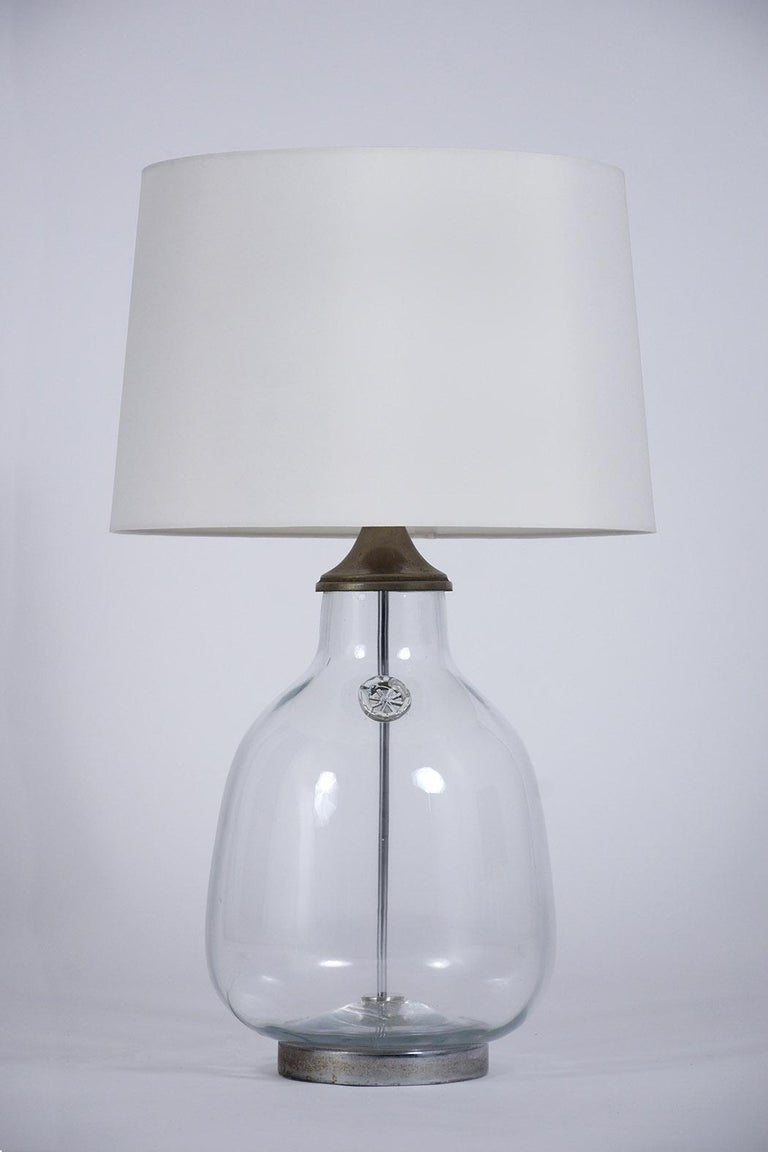Pair of Clear Blown Glass Table Lamps For Sale 2