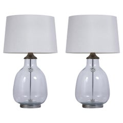 Pair of Clear Blown Glass Table Lamps