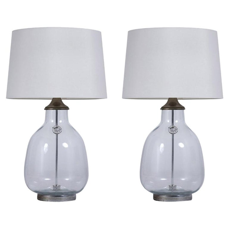 Pair of Clear Blown Glass Table Lamps For Sale