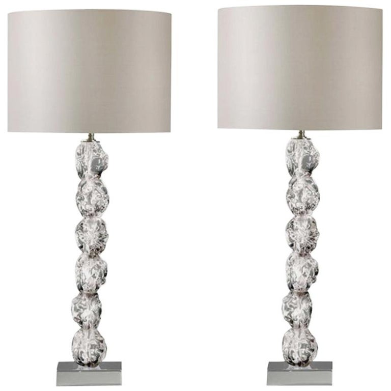 Pair of Clear Crystal Rock Table Lamps with Silk Lamp Shades For Sale