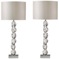 Pair of Clear Crystal Rock Table Lamps with Silk Lamp Shades