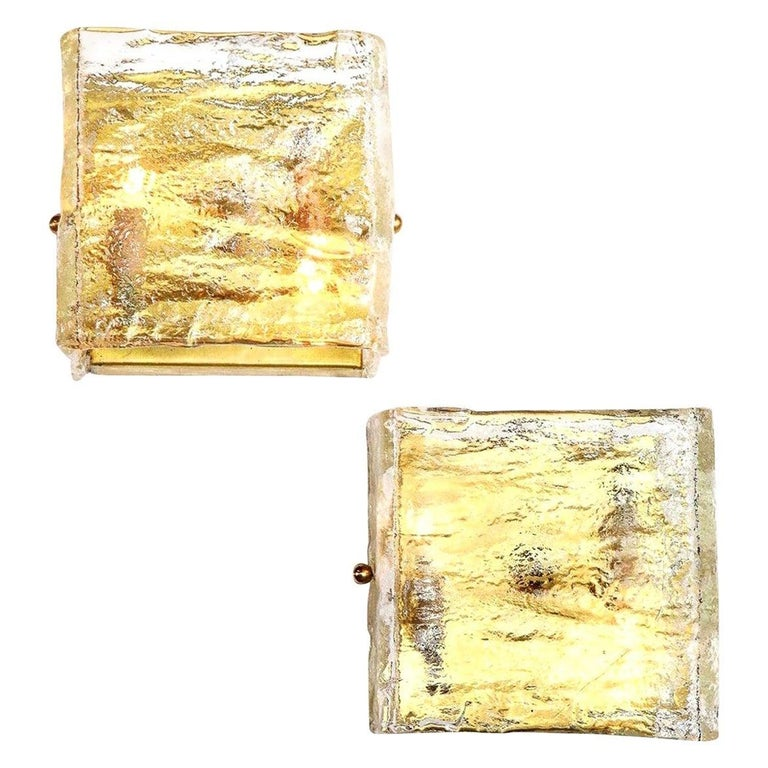 Glass Sconce, Single, Murano, C 1960, Italy, Midcentury Italian, Clear Glass For Sale