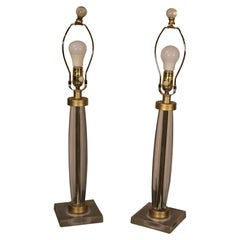 Pair of Clear Lucite or Glass Table Lamps