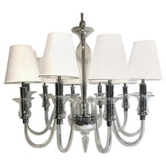Pair of Clear Murano Chandeliers