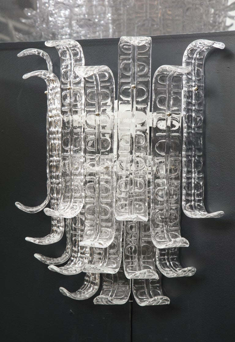 Pair of Clear Murano Glass