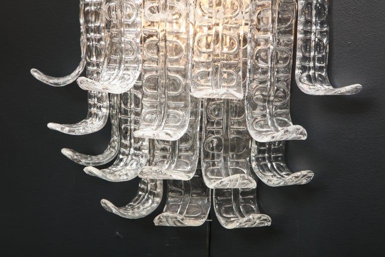 Italian Pair of Clear Murano Glass
