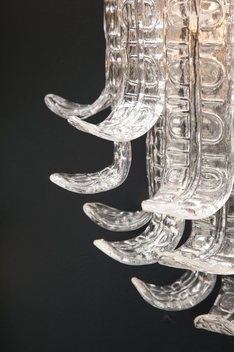 Hand-Crafted Pair of Clear Murano Glass