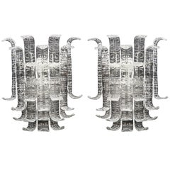 "Pair of Clear Murano Glass ""Ricci"" Sconces in the Style of Barovier Toso, Italy"