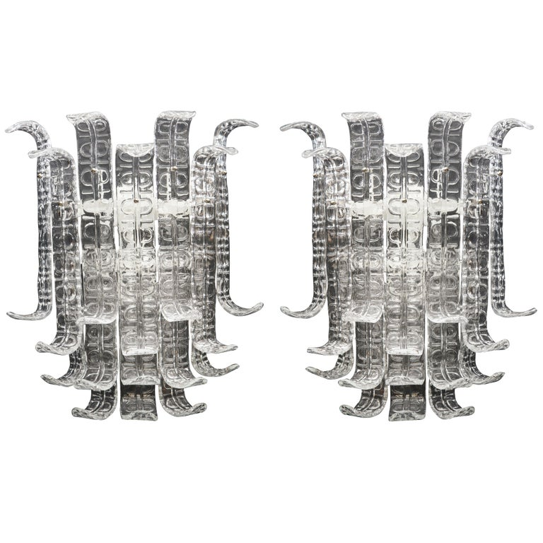 """Pair of Clear Murano Glass """"Ricci"""" Sconces in the Style of Barovier Toso, Italy For Sale"""
