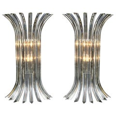 Pair of Clear Murano Glass Rod Sconces with Black Vein and Chrome Frame, Italy
