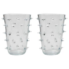 Pair of Clear Murano Glass Vases with Spikes