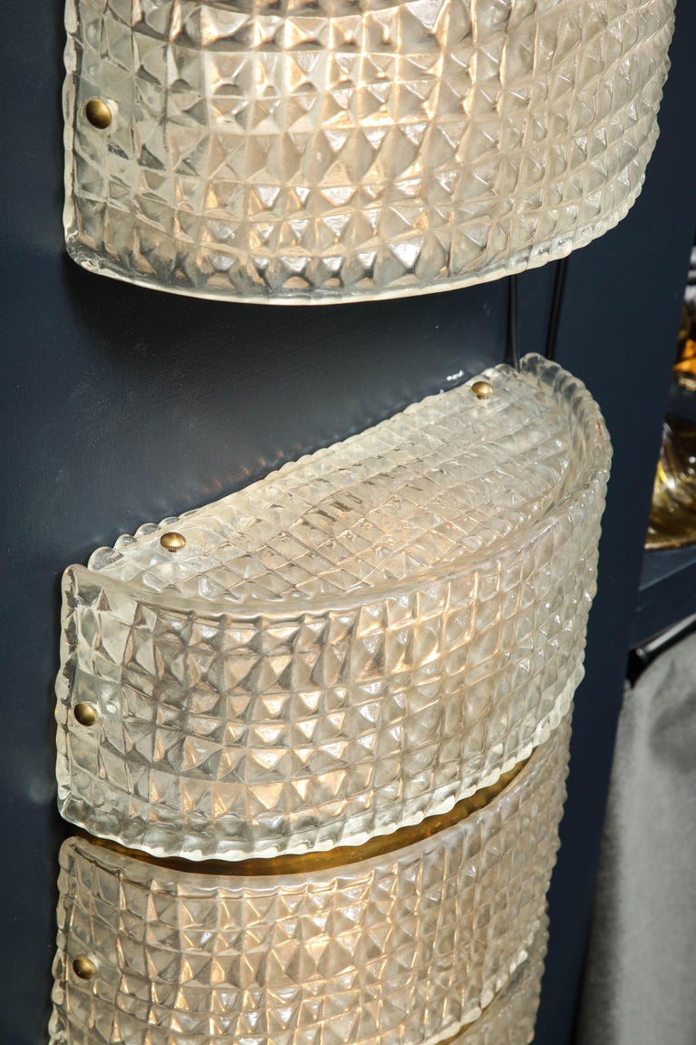 Murano Glass Pair of Clear Murano Stamped Glass and Brass Sconces, Italy. For Sale