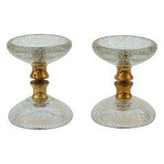 Pair of Clear Round Murano Glass Double Door Handles with Brass Fixtures