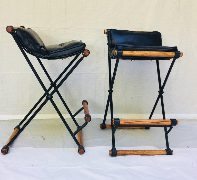 Pair Of Cleo Baldon Bar Stools In Wrought Iron And Oak For