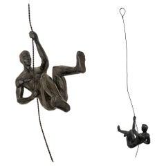Pair of Climbing Man Rapel Style Wall Hanging Sculpture