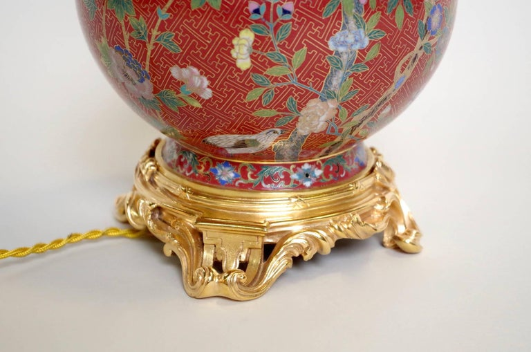 Pair of Cloisonné Enamel Lamps on a Louis XV Style Mount, Late 19th Century For Sale 3
