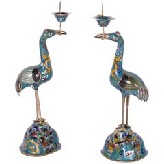 Pair of Cloisonné Bird Candlesticks