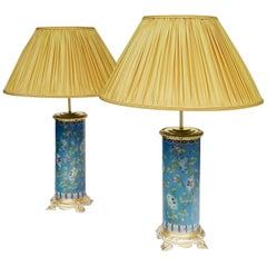 Pair of Cloisonne Enamel Lamps with Gilt Bronze Mounting, circa 1900