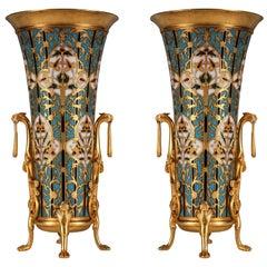 """Pair of """"Cloisonne"""" Enamel Vases by F. Barbedienne"""