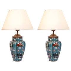Pair of Cloisonné Table Lamps. Japan, Late 19th Century
