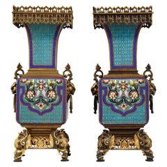 Pair of Cloisonné Vases A. Giroux
