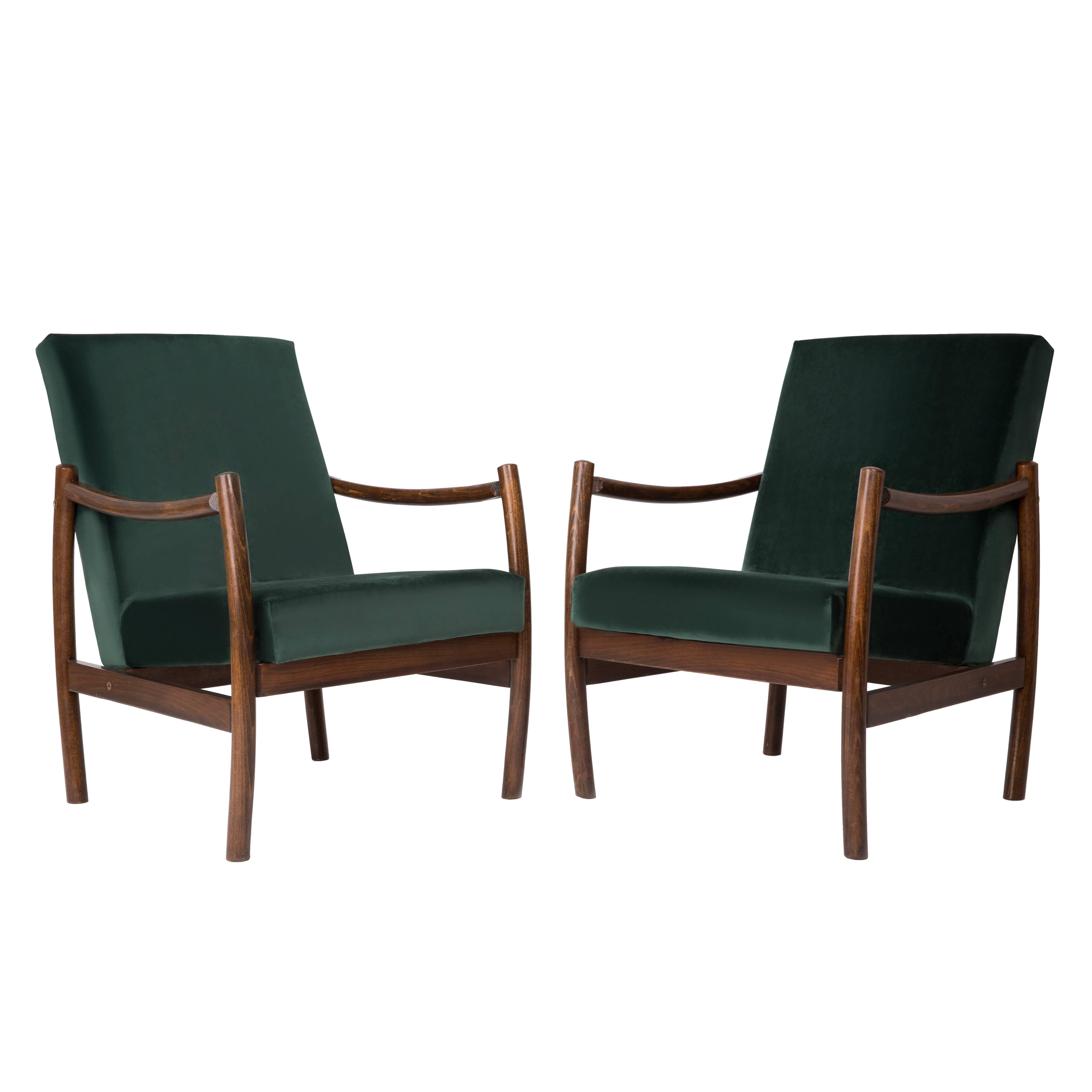 Club Armchair, Dark Green Velvet, 1960s