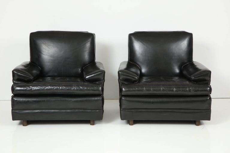 Large pair of patent leather chairs attributed to Sam Marx, original patent leather and nailheads.