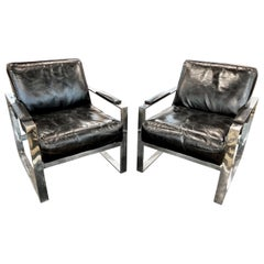 Pair of Club Chairs, Black and Chrome, Scandinavian Design 1960s-1970s