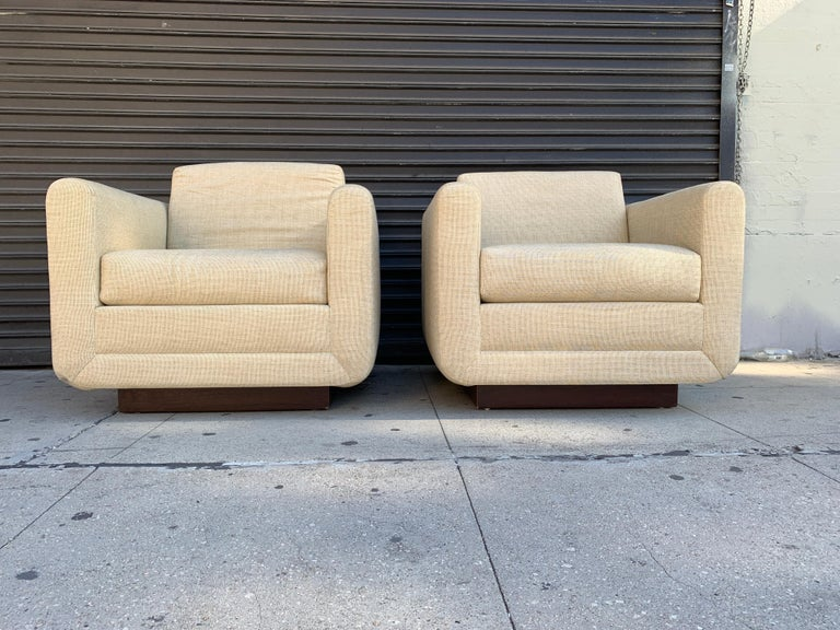 Upholstery Pair of Club Chairs on Walnut Plinth by Harvey Probber For Sale