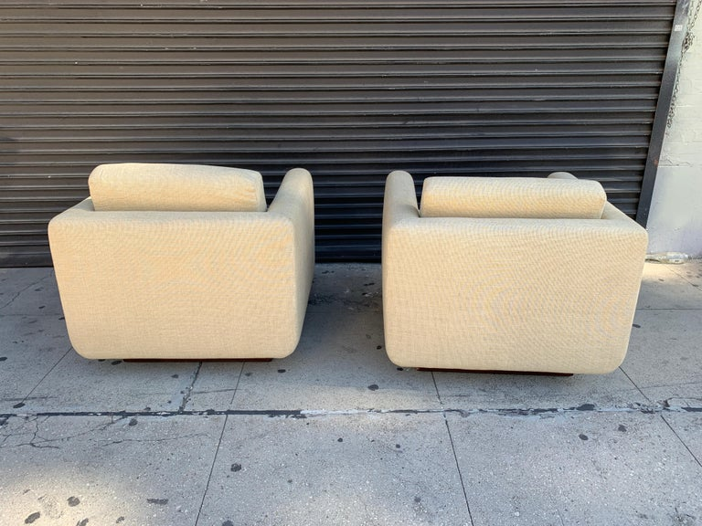 Pair of Club Chairs on Walnut Plinth by Harvey Probber For Sale 2