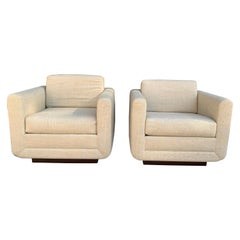 Pair of Club Chairs on Walnut Plinth by Harvey Probber