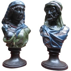 Pair of Coal Painted Bronze Busts of a Arab Man and Woman