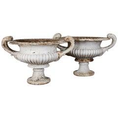 Pair of Coalbrookdale Cast Iron 'Naples' Garden Urns