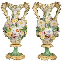 Pair of Coalbrookdale Vases with Applied Flowers, Circa 1840