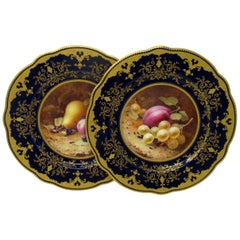 Pair of Coalport Cabinet Plates Hand Painted, Frederick Chivers Still Life 1910