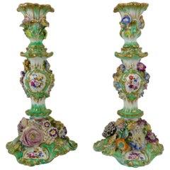 Pair of Coalport Flower Encrusted, Porcelain Candlesticks, circa 1830