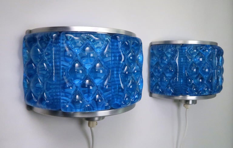 Mid-Century Modern Cobalt Blue 1960s Nordic Art Glass Modernis Wall Sconces by Orrefors and Vitrika For Sale