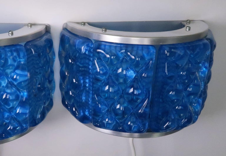 Metal Cobalt Blue 1960s Nordic Art Glass Modernis Wall Sconces by Orrefors and Vitrika For Sale
