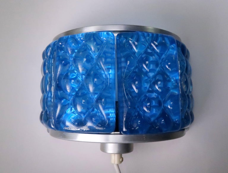 Cobalt Blue 1960s Nordic Art Glass Modernis Wall Sconces by Orrefors and Vitrika For Sale 1
