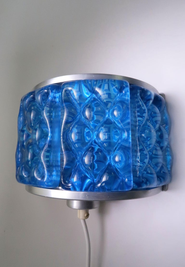 Cobalt Blue 1960s Nordic Art Glass Modernis Wall Sconces by Orrefors and Vitrika For Sale 2