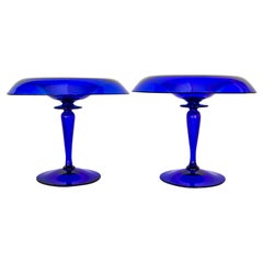 Pair of Cobalt Blue Glass Compotes