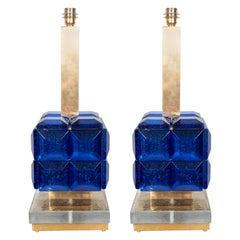 Pair of Cobalt Blue Murano Glass and Brass Geometric Square Lamps, Italy, 2019