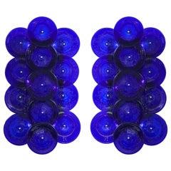 Pair of Cobalt Blue Murano Glass Disc Sconces