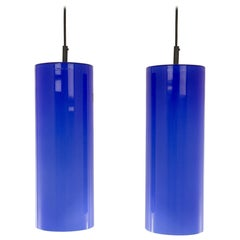 Pair of Cobalt Blue Murano Glass Pendants by Venini, 1950s