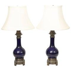 Pair of Cobalt Blue Porcelain Oil Lamps