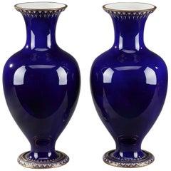 Pair of Cobalt Blue Porcelain Vases, Sèvres France